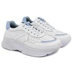 Tênis Sneaker Feminino em Couro 2001 Branco-Azul