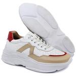 Tênis Sneaker Feminino em Couro 2001 Branco-Perola