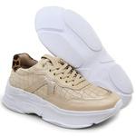 Tênis Sneaker Feminino em Couro 2001 Perola-Onça