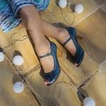 Sapato Peep Toe Couro Legítimo