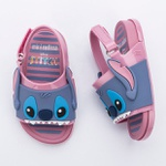 Mini Melissa Beach Slide Sandal + Stitch Infantil Rosa Azul