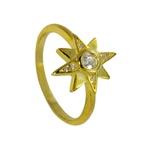 Anel com Estrela Cravejado em Prata 925 banhado com Ouro 18k