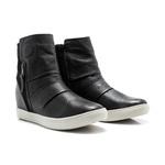 Tênis Feminino Sneakers New York Quebec c/ Salto Interno 4,5 em Couro