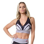 Top Fitness Rock Fit Preto e Cinza Stripes