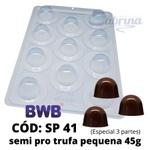 Trufa Pequena 45g BWB COD:41SP Forma de Chocolate Acetato com Silicone Especial (3 partes)