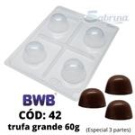 Trufa Grande 60g BWB COD: 42 Forma de Chocolate Acetato com Silicone Especial (3 partes)