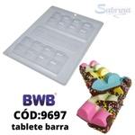 Tablete Barra BWB COD:9697 Forma Barra De Chocolate Acetato com Silicone Especial (3 Partes)