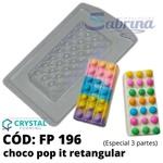 Choco Pop It Retangular Crystal Forming Cód:196 Forma De Chocolate Acetato com Silicone Especial (3 Partes)