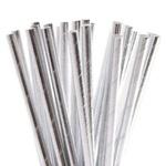 Canudo de Papel Metalizado Prata c/15und Silverfestas