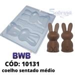 Coelho Sentado Médio 170g BWB COD:10131 Forma De Chocolate Acetato com Silicone Especial (3 Partes)