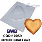 Coração Listrado 350g BWB COD:10059 Forma de Chocolate Especial (3 partes)