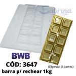 Barra para Rechear Grande 1kg BWB CÓD: SP3647 Forma de Chocolate com Silicone Especial (3 partes)
