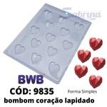 Bombom Coração Lapidado Forma Simples BWB com 5 und