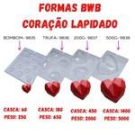 Coração Lapidado 500g BWB COD:9838 Forma de Chocolate Especial (3 partes)