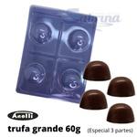 Trufa Grande 60g Forma de Acetato com Silicone 3 partes Anelli