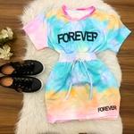 Conjunto Tie Dye | Shorts Saia e Blusa - Verde/azul