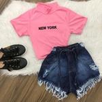 Cropped C/ Gola New York - Rosa