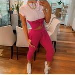 Conjunto Calça e Blusa com Zíper - Branco e Pink