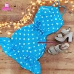 Vestido Azul Bolinhas