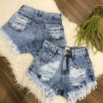 Shorts Jeans Destroyed Mesclado