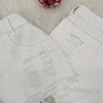 Shorts Jeans Desfiado Branco com Brilho