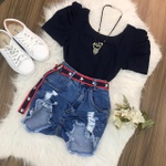 Shorts Jeans Melinda Cinto de Estrela Rasgado