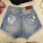 Shorts Jeans Melinda Com Cinto Dourado Claro