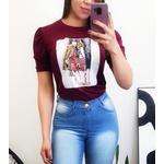 T-shirt Manga Princesa - Estampa Salto - Cor Bordô