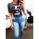T-shirt Manga Princesa - Estampa Yorkshire - Cor Cinza