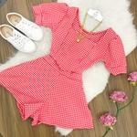 Conjunto | Shorts Gode e Cropped Pricesa| Xadrez Vermelho