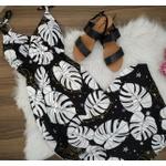 Vestido Barra Em v Estampa Preto e Branco