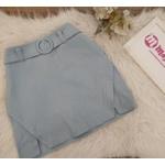Shorts Saia Com Cinto Bolinha Azul Claro