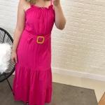 Vestido Longo Com Cinto Pink
