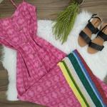 Vestido Longo Com Botões Rosa