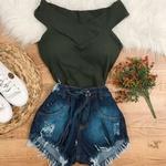 Body Canelado Verde