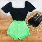 Shorts Jeans Verde Neon
