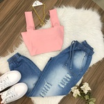 Calça Jeans Cargo