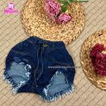 Shorts Jeans Lirus Escuro Com Amarra