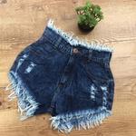 Shorts Jeans Mesclado Com Desfiado Na Cintura