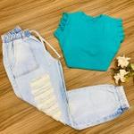 Calça Jeans Cargo - Rasgada na Perna - Claro