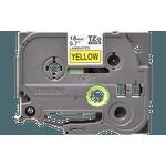 Fita laminada tze-641 18mm preto/amarelo