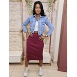 Jaqueta Jeans Cropped com Elástico na Barra - Lavagem Clara