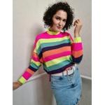 Blusa de tricot Rainbow - Rosa e Amarelo