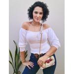 Blusa Tricot Ágata com Drapeado - Off White