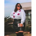 Blusa Tricot Florata - Off White