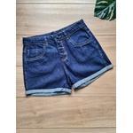 Short Jeans Zoe Botão Encapado - Lavagem Escura