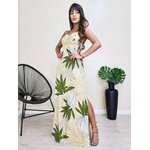 Vestido Longo Básico - Floral Bege