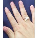 Anel Em Prata Com Pedra Zircônia Navete 2 Apliques De Ouro - 39024