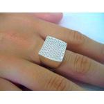 Anel De Prata 950 Feminino Com Pave Pedra Quadrado - 39004