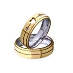 Par De Alianças De Moeda Com Aço Coração e Pedras 3 Frisos 6mm